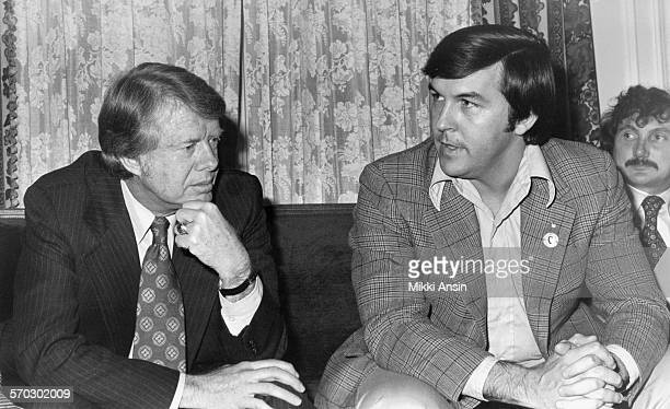 Presidential candidate Jimmy Carter consults with his staff in Boston Massachusetts 1976