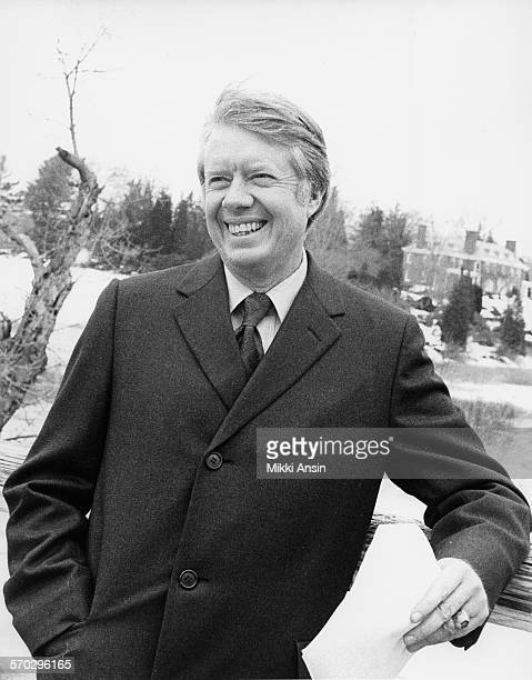Presidential candidate Jimmy Carter prepares to be filmed for a political ad on the North Bridge in Concord Massachusetts 1976