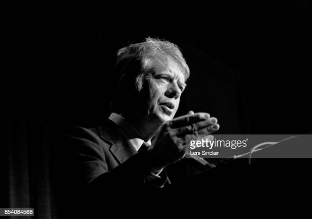 Presidential candidate Jimmy Carter speaking at a campaign rally at Cobo Hall in Detroit in 1976