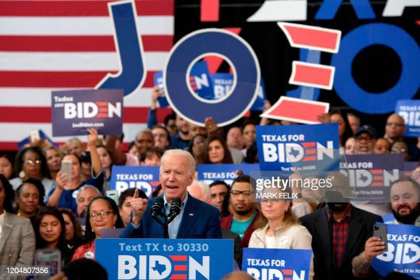 Presidential candidate Joe Biden speaks to supporters during a rally on March 2 2020 at Texas Southern University in Houston Texas