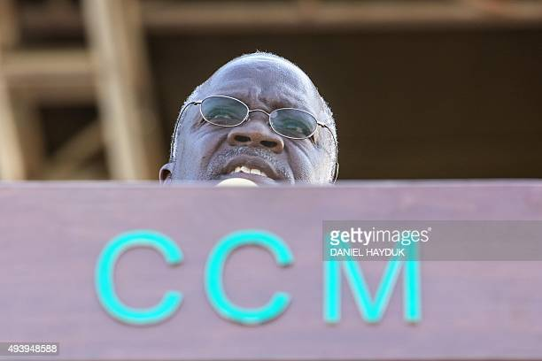 Presidential candidate John Magufuli addresses a rally by ruling party Chama Cha Mapinduzi in Dar es Salaam Tanzania on October 23 ahead of the...