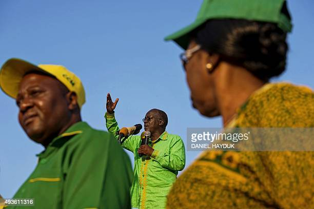 Presidential candidate John Magufuli speaks during a ruling Chama Cha Mapinduzi rally in Dar es Salaam Tanzania on October 21 2015 CCM's party's...