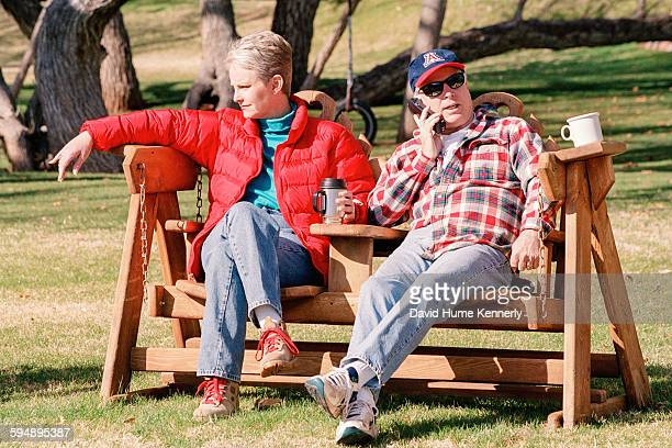 Presidential candidate John McCain and his wife Cindy McCain relax at their family ranch March 9 2000 near Sedona Arizona