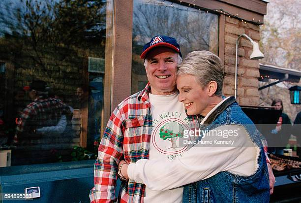 Presidential candidate John McCain and his wife Cindy McCain smile for the camera at their family ranch March 9 2000 near Sedona Arizona