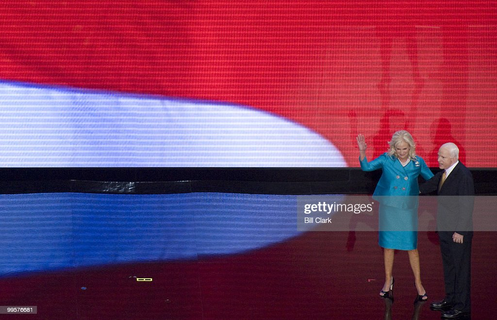 GOP presidential candidate John McCain and his wife Cindy wave to the crowd after his speech to the Republican National Convention at the Xcel Center in St. Paul, Minn., on Thursday, Sept. 4, 2008.