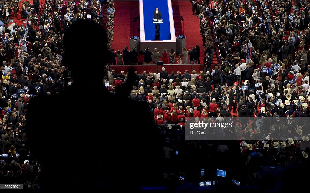 GOP presidential candidate John McCain speaks to the Republican National Convention at the Xcel Center in St. Paul, Minn., on Thursday, Sept. 4, 2008.