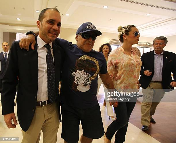FIFA presidential candidate Jordan's Prince Ali Bin AlHussein and former Argentinian football player Diego Maradona attend the opening of the...