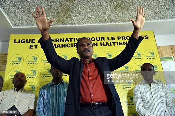 Presidential candidate Jude Celestin of LAPEH political party speaks during a press conference in PortauPrince on November 6 2015 Provisional...