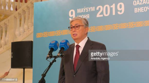 Presidential candidate KassymJomart Tokayev speaks after casting his ballot during the presidential elections in NurSultan Kazakhstan 09 June 2019