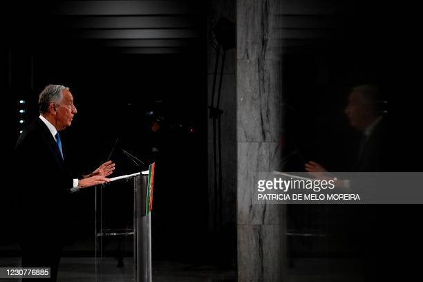 Presidential candidate Marcelo Rebelo de Sousa delivers his victory speech after been re-elected as Portugal's President during the 2021 presidential...