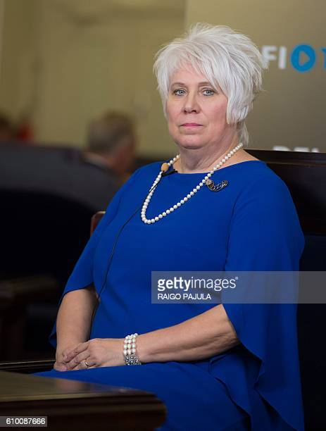 Presidential candidate Marina Kaljurand attends the Estonian presidential elections in Tallinn on September 24 2016 Estonia's electoral college meets...