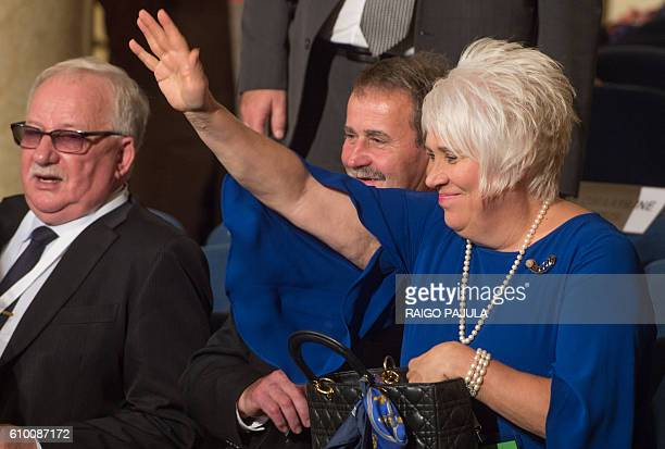 Presidential candidate Marina Kaljurand attends the vote count of the presidential elections in Tallinn on September 24 2016 Estonia's electoral...