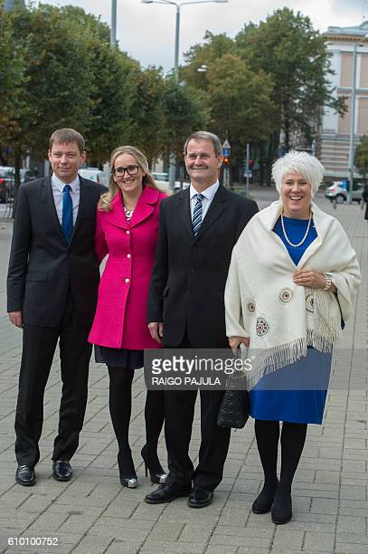 Presidential candidate Marina Kaljurand her husband Kalle Kaljurand arrive for the Estonian presidential elections with her daughter Kaisa Kaljurand...