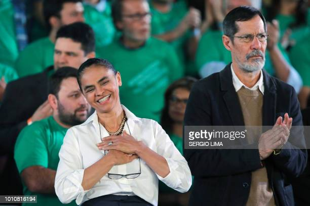 Presidential candidate Marina Silva and her vicepresidential running mate Eduardo Jorge are pictured during the launching of their candidacies ahead...