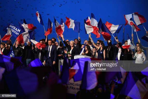 Presidential Candidate Marine Le Pen thanks her supporters during an election rally on May 1, 2017 in Villepinte, France. Le Pen faces Emmanuel...