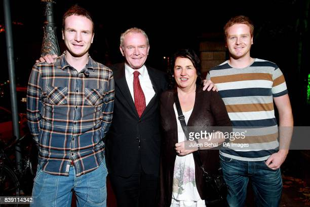 Presidential Candidate Martin McGuinness with his wife Bernie and sons Fiachra and Emmet at the Mansion House in Dublin at a gathering of supporters...