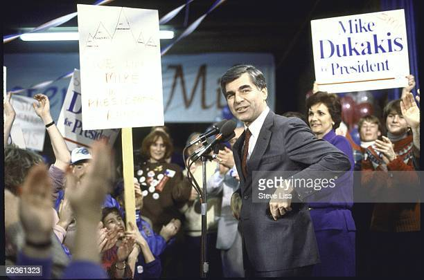 Presidential candidate Michael S Dukakis with wife during campaign