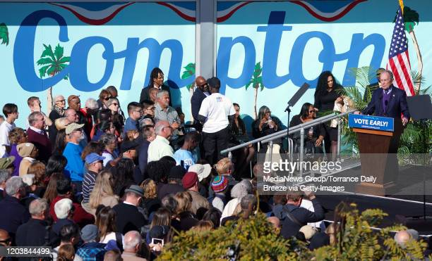 Presidential candidate Mike Bloomberg speaks at a campaign event at the Dollarhide Community Center in Compton on Monday Feb 3 2020 Bloomberg kicked...