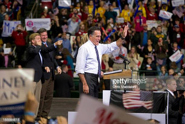 Presidential candidate Mitt Romney appears at a campaign stop at the Patriot Center at George Mason University in Fairfax Virginia Current polls have...