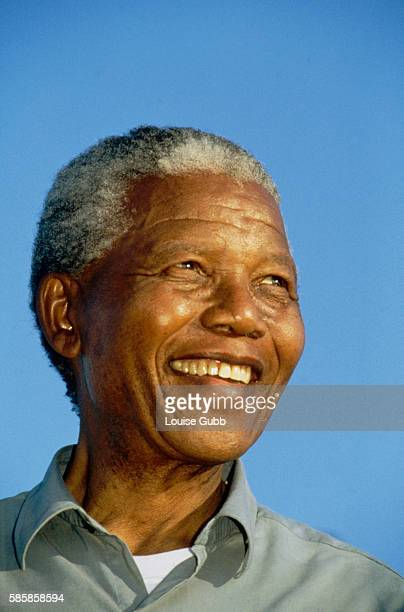 Presidential candidate Nelson Mandela smiles during rally in Ezakheni before first Democratic elections A longtime political prisoner Nelson Mandela...