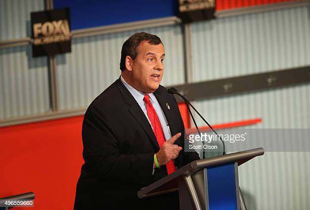 Presidential candidate New Jersey Gov Chris Christie speaks during the Republican Presidential Debate sponsored by Fox Business and the Wall Street...