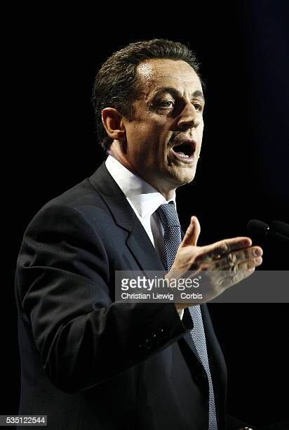Presidential candidate Nicolas Sarkozy attends a campaign rally at the Zenith.