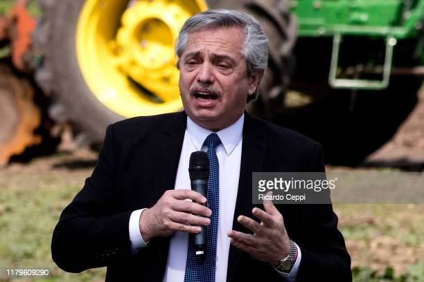 Presidential candidate of Frente de Todos alliance Alberto Fernandez talks during a rally to present his strategy to reduce and eradicate famine...