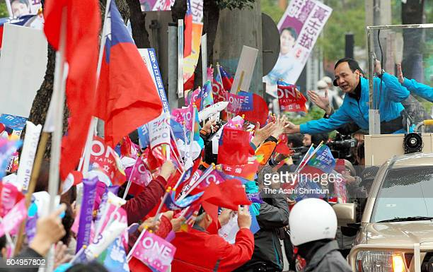 Presidential candidate of Taiwan's ruling Kuomingtang Chu Li-Luan on a campaign car calling for support on January 14, 2016 in New Taipei, Taiwan....