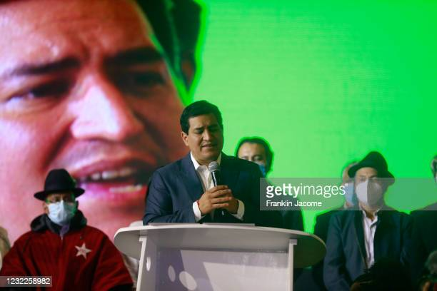 Presidential candidate of Unión Por La Esperanza Andrés Arauz gestures during a press conference after recognizing his defeat against Candidate for...