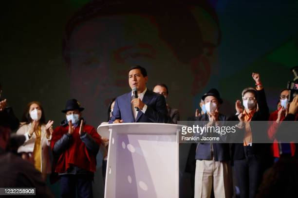 Presidential candidate of Unión Por La Esperanza Andrés Arauz speaks during a press conference after recognizing his defeat against Candidate for...