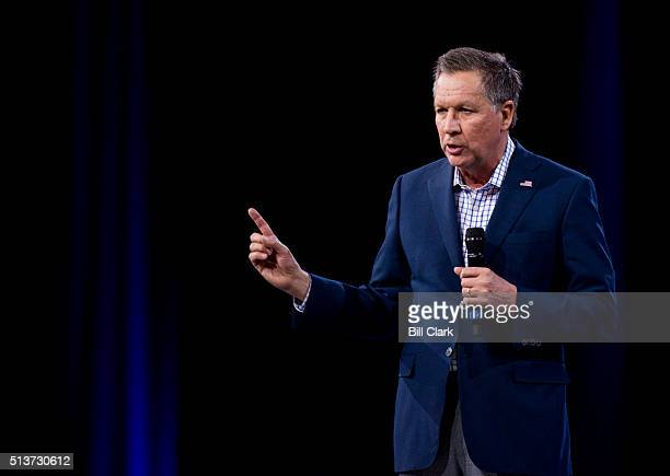 Presidential candidate Ohio Gov. John Kasich speaks at the American Conservative Union's CPAC conference at National Harbor in Oxon Hill, Md., on...