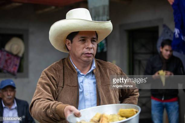 Presidential candidate Pedro Castillo of Peru Libre attends the traditional breakfast with his family members as part of the presidential runoff...
