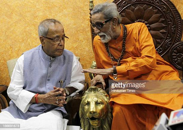 Presidential candidate Pranab Mukherjee meets Shiv Sena supremo Balasaheb Thackeray at his residence matoshri on July 13 2012 in Mumbai India