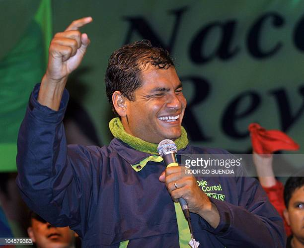 Presidential candidate Rafael Correa of the Country Alliance party gestures as he deliver a speech during his campaign final rally in Quito 12...