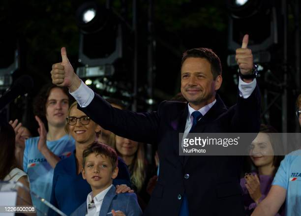 Presidential candidate Rafal Trzaskowski gestures during the presidential elections run-off night on July 12, 2020 in Warsaw, Poland. According to...