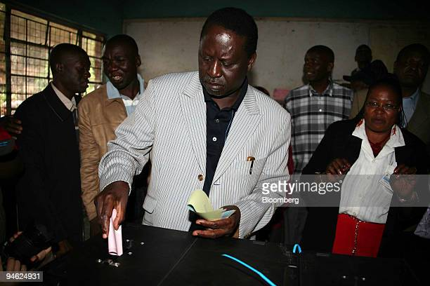 Presidential candidate Raila Odinga casts his vote in Kibera Nairobi Kenya on Thursday Dec 27 2007 Odinga's main rival is President Mwai Kibaki the...