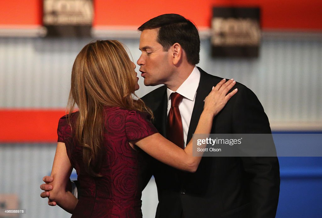Presidential candidate Republican Sen. Marco Rubio (R-FL) kisses his wife Jeanette after the Republican Presidential Debate sponsored by Fox Business and the Wall Street Journal at the Milwaukee Theatre November 10, 2015 in Milwaukee, Wisconsin. The fourth Republican debate is held in two parts, one main debate for the top eight candidates, and another for four other candidates lower in the current polls.