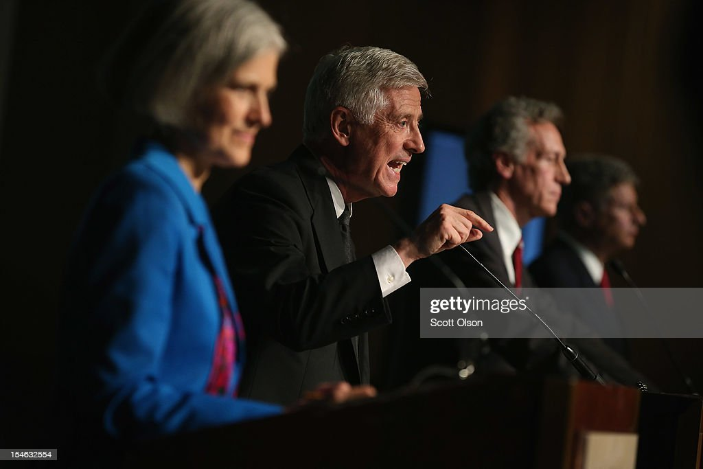 Presidential candidate Rocky Anderson (2nd L) from the Justice Party makes a point as Jill Stein (L) from the Green Party, Constitution Party presidential candidate Virgil Goode (2nd R) and Gary Johnson (R) from the Libertarian Party look on during a debate hosted by the Free and Equal Elections Foundation and moderated by former CNN talk-show host Larry King on October 23, 2012 in Chicago, Illinois. The 90-minute debate held at the Chicago Hilton hotel featured presidential candidates from the Green Party, Libertarian Party, Constitution Party and Justice Party.