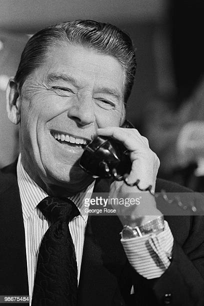 Presidential candidate Ronald Reagan grins while speaking on the phone in this 1976 Los Angeles California photo leading up to the Republican...
