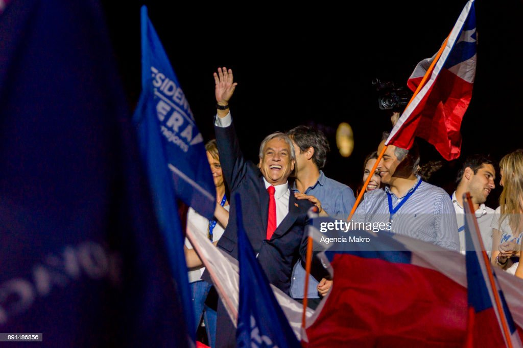 Presidential candidate Sebastian Piñera celebrates after winning the second round of the presidential elections in Chile on December 17, 2017 in Santiago, Chile.