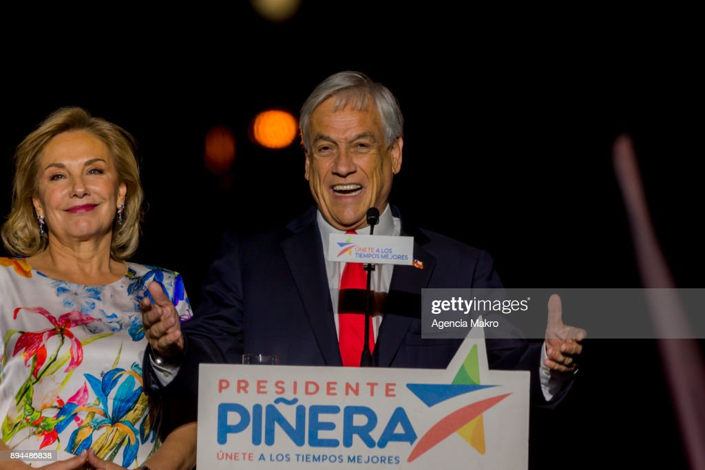 Presidential candidate Sebastian Piñera delivers a speech after winning the second round of the presidential elections in Chile on December 17, 2017 in Santiago, Chile.