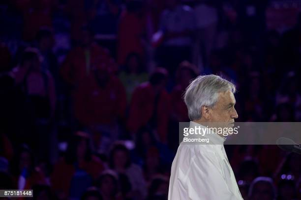 Presidential candidate Sebastian Pinera speaks during a campaign rally in Santiago Chile on Thursday Nov 16 2017 Everything points to a victory for...