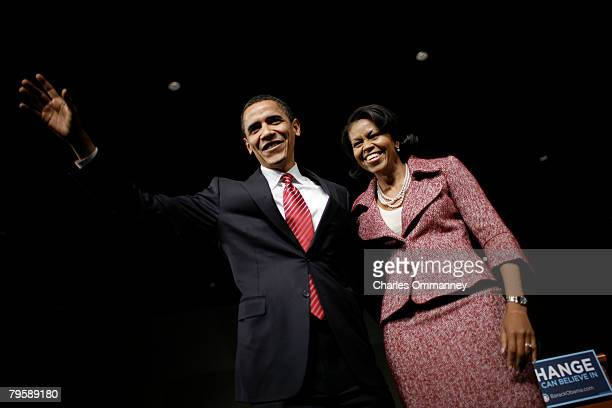 Presidential candidate Sen. Barack Obama and his wife Michelle Obama take the stage for his victory rally at the Columbia Metropolitan Convention...