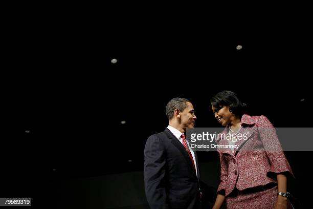 Presidential candidate Sen Barack Obama and his wife Michelle Obama take the stage for his victory rally at the Columbia Metropolitan Convention...