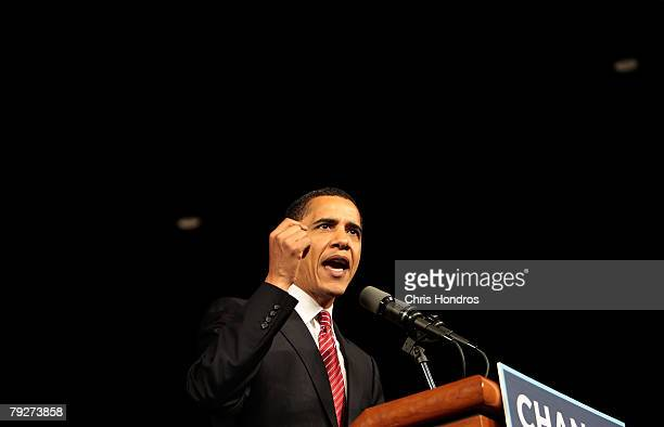 Presidential candidate Sen. Barack Obama gives a speech at his victory rally at the Columbia Metropolitan Convention Center January 26, 2008 in...