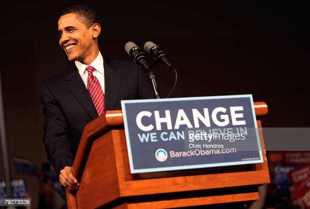Presidential candidate Sen Barack Obama takes the lectern at his victory rally at the Columbia Metropolitan Convention Center January 26 2008 in...