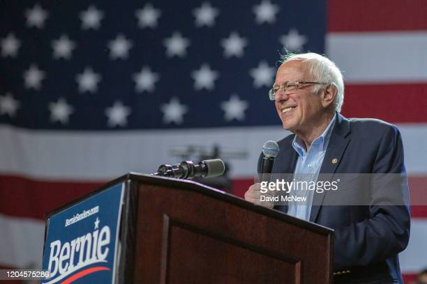Presidential candidate Sen Bernie Sanders holds a campaign rally at the Los Angeles Convention Center on March 1 2020 in Los Angeles California...