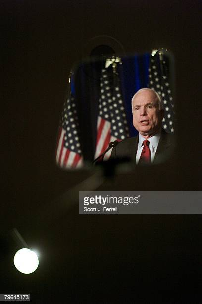Presidential candidate Sen John McCain RAriz seen in a reflection in a teleprompter speaks to the Conservative Political Action Conference two hours...