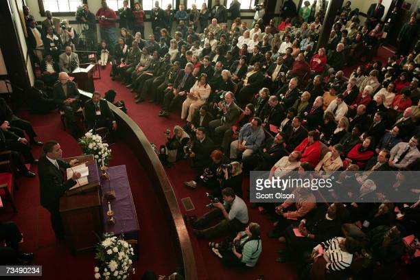 Presidential candidate Senator Barack Obama addresses a crowd gathered for the commemoration of the 1965 Voting Rights 'Bloody Sunday' March at Brown...