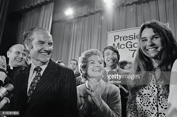 Presidential candidate Senator George McGovern his wife Eleanor and Kathleen Kennedy daughter of the late Senator Kennedy celebrate the good news...